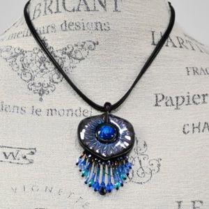 Chico's Cord BOHO Blue Stone Statement Necklace